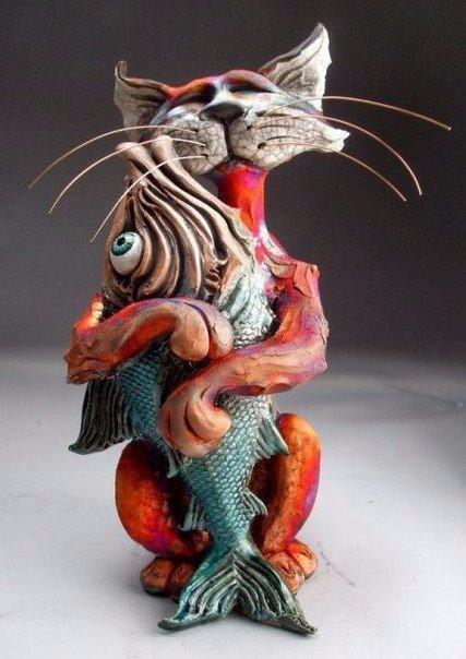 кот скульптура  прямые руки Красивые картинки