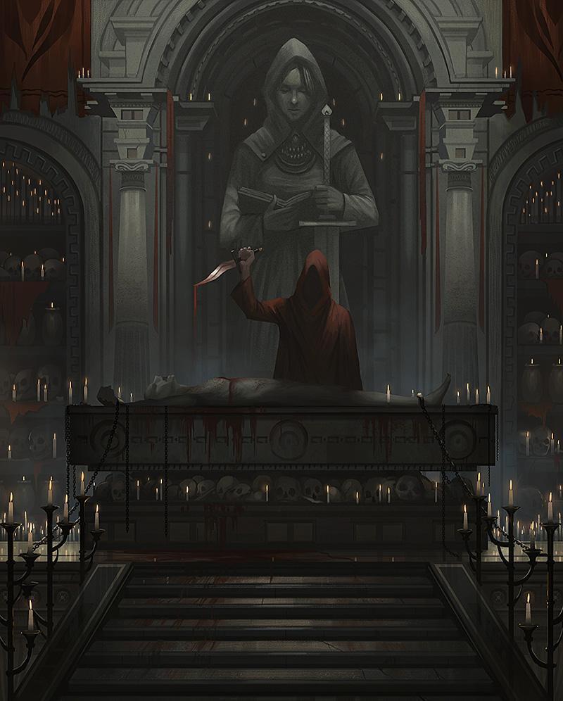 Арт Мрачные картинки Фэнтези ритуал