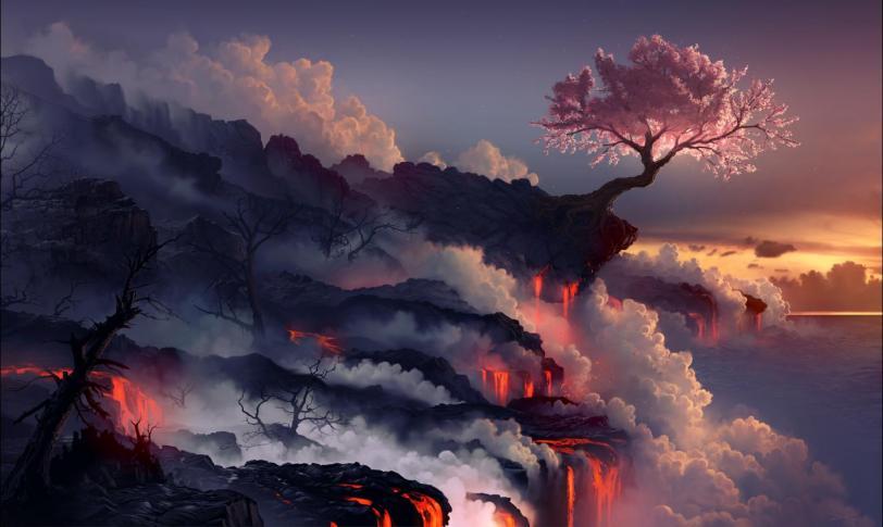 Арт Красивые картинки Природа вулкан сакура