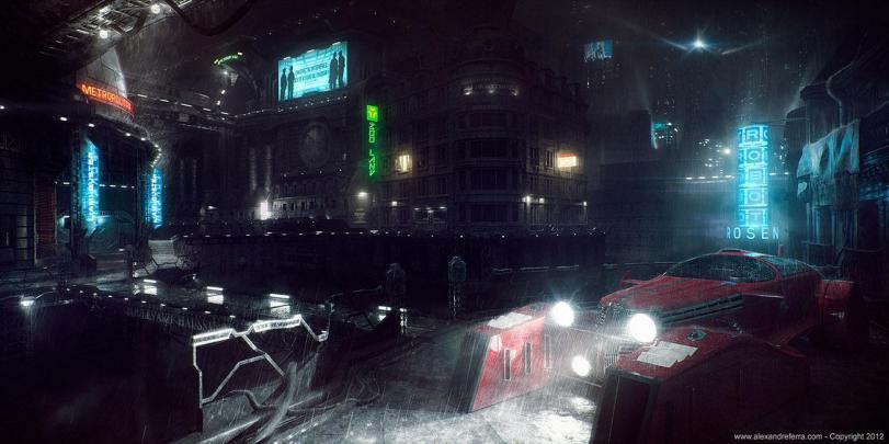 Арт Мрачные картинки Scifi Cyberpunk Bladerunner Киберпанк