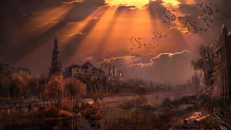 Арт Мрачные картинки Постапокалипсис Город Москва