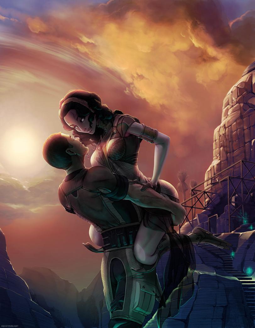 Красивые картинки Арт Sci-fi Mass Effect Shepard Tali