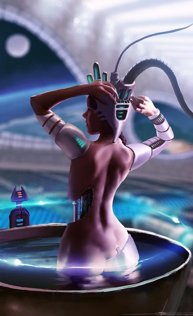 Арт Красивые картинки Девушка Scifi Cyberpunk Киберпанк