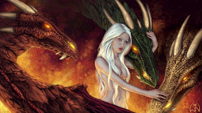Арт Красивые картинки Девушка мать драконов Game of Thrones Daenerys песочница