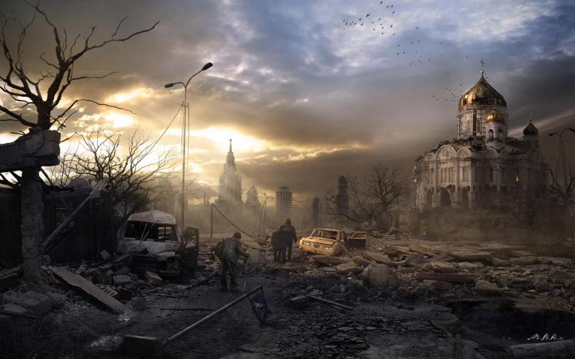 Арт Мрачные картинки Постапокалипсис Москва песочница