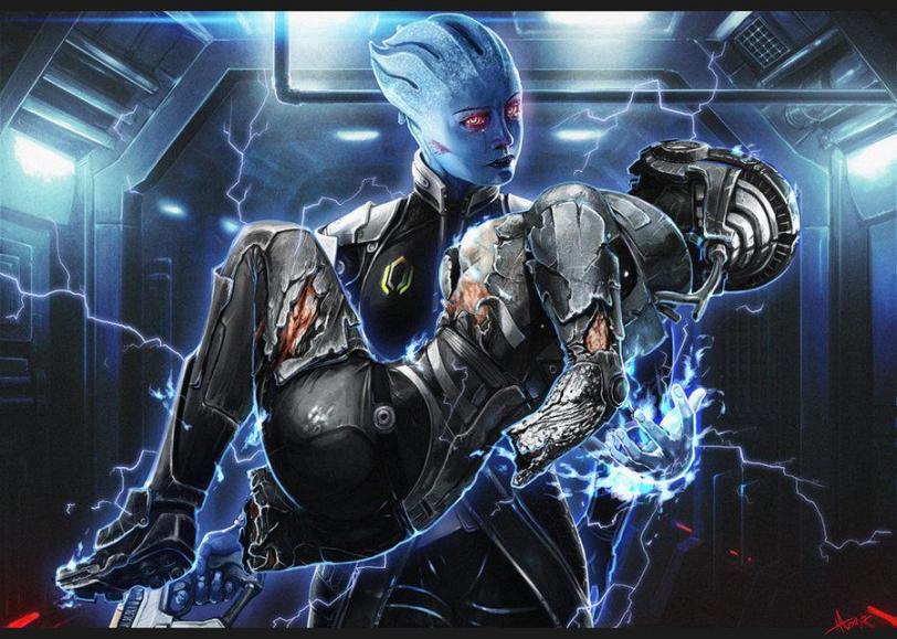Арт Scifi Mass Effect Liara FemShep