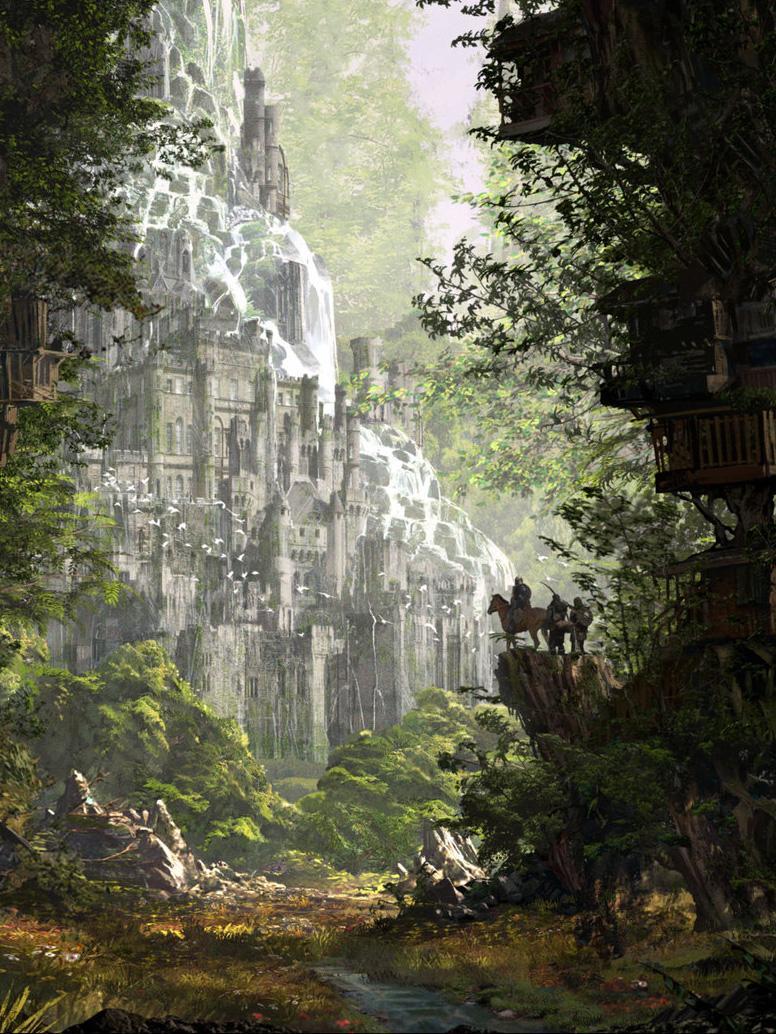 Арт Красивые картинки Фэнтези лес замок водопад
