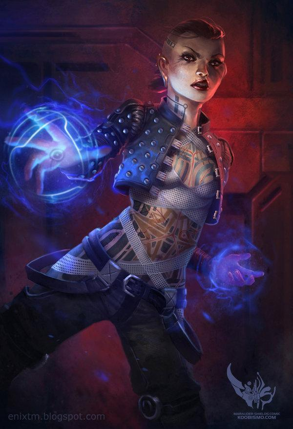 Арт Scifi Mass Effect Jack Psycotic biotic