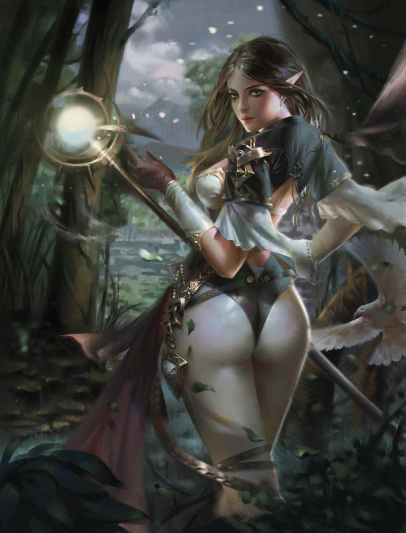 Арт Красивые картинки Фэнтези эльфийка магия