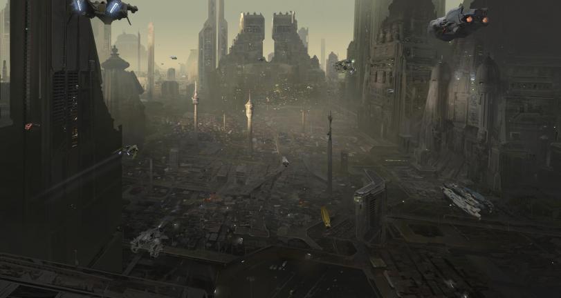 Арт Scifi город будущего