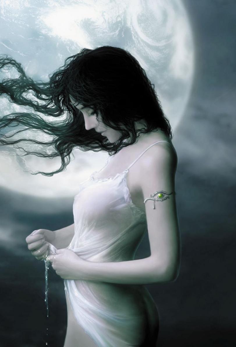 Арт Красивые картинки Девушка луна