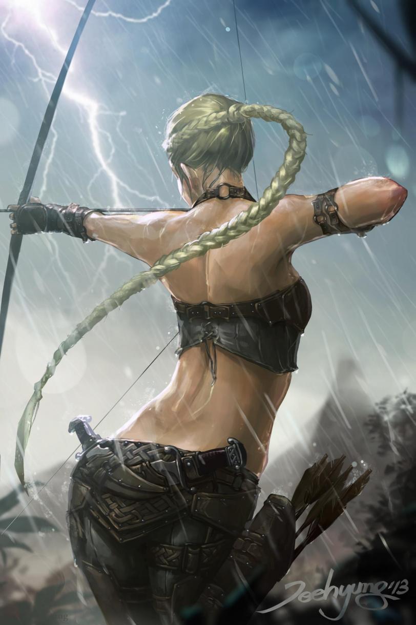 Арт Красивые картинки Фэнтези лучница дождь Jee Hyung Lee
