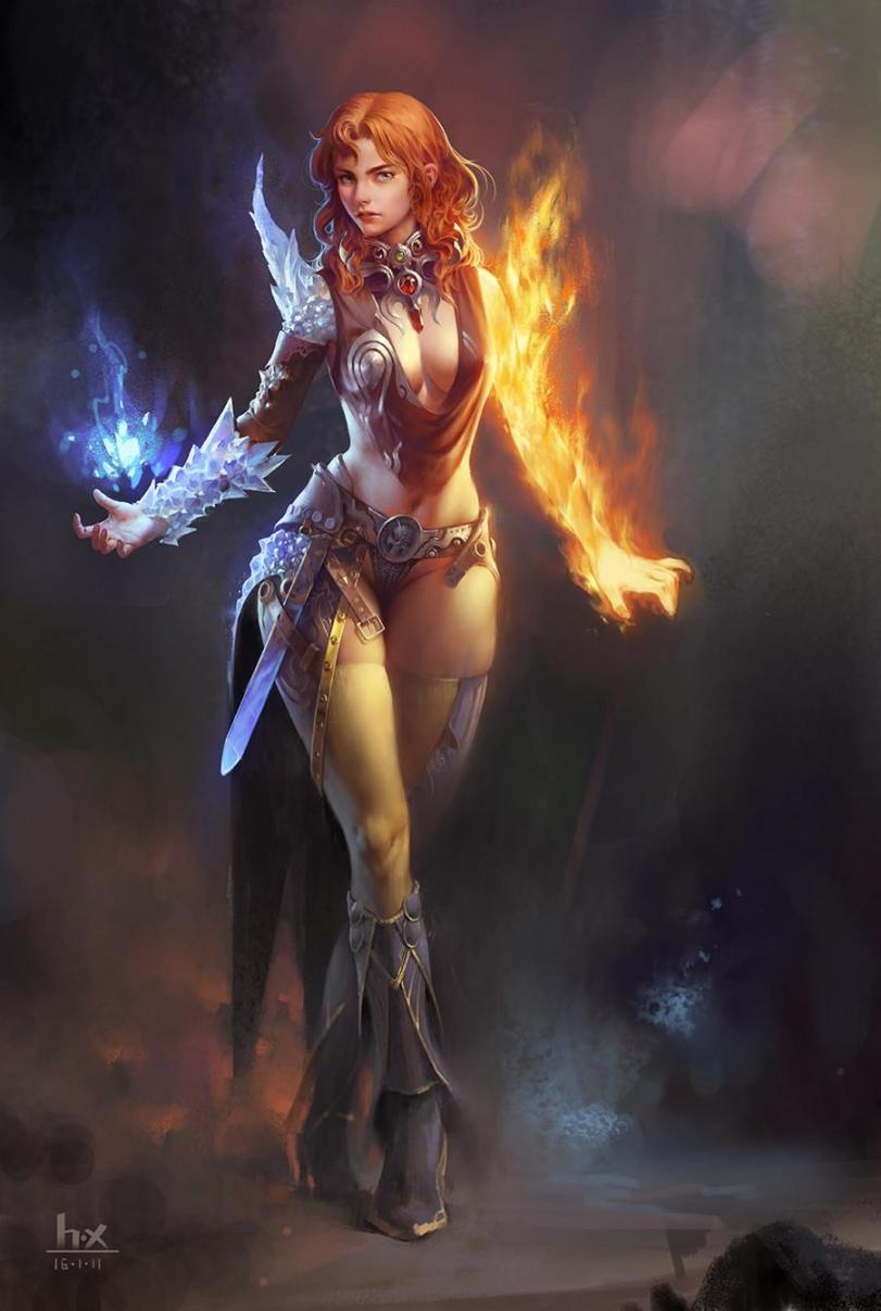 Арт Красивые картинки Фэнтези магия Девушка рыжая